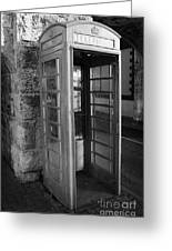 old style red telephone box with missing door in Carnlough county antrim Greeting Card