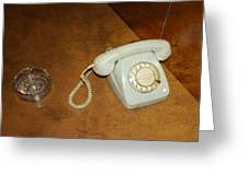 Old Telephone And Ashtray On Brown Table Greeting Card by Matthias Hauser