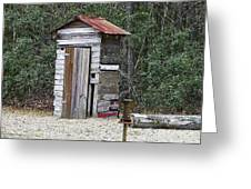 Old Time Outhouse And Pitcher Pump Greeting Card