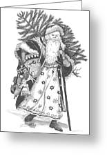 Old Time Santa With Violin Greeting Card