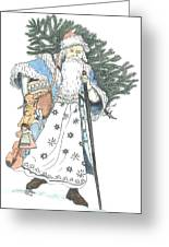 Old Time Santa With Violin2 Greeting Card