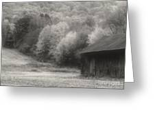 Old Tobacco Barn In Black And White Greeting Card