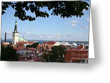 Old Town And Harbor - Tallinn Greeting Card