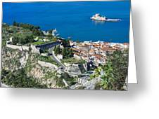 Old Town Nafplio And Ruins Greeting Card