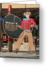 Old Town Scottsdale Cowboy Sign Greeting Card