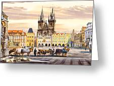 Old Town Square Greeting Card