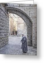 Old Town Street Of Jerusalem Israel Greeting Card
