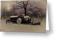Old Tractor And Redbuds Sepia Greeting Card