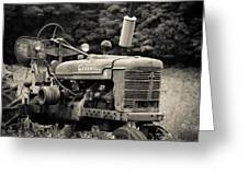Old Tractor Black And White Square Greeting Card
