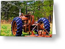Old Tractor Digital Paint Greeting Card