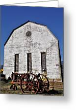 Old Tractor In Front Of Hay Barn Greeting Card