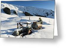 Old Tractor In Winter With Lots Of Snow Waiting For Spring Greeting Card