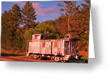Old Train Caboose Greeting Card