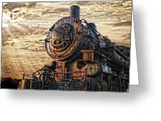 Old Train Still In Light Greeting Card