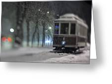 Old Tram On The  Street Greeting Card