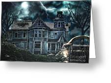 Old Victorian House Greeting Card by Mo T