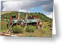 Old Wagon Along The Road Greeting Card