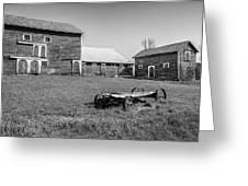 Old Wagon And Barns Greeting Card
