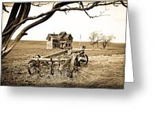 Old Wagon And Homestead Greeting Card