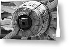 Old Wagon Wheel - Black And White Greeting Card