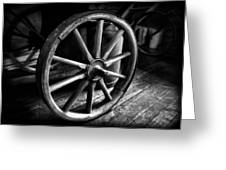 Old Wagon Wheel Black And White Greeting Card