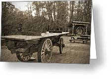 Old Wagon With Antique Water Wheel Greeting Card
