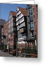 Old Warehouses Port Of Hamburg  Greeting Card