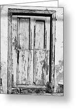 old weathered green painted wooden door entrance to abandoned house with cracked stucco walls in Tacoronte Tenerife Canary Islands Spain Greeting Card