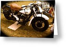 Old White Motorcycle Greeting Card