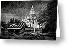 Old Whitewashed Lemyethna Temple Bw Greeting Card