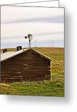 Old Windmill Vs New Windmills Greeting Card