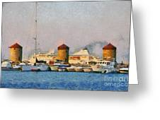 Old Windmills And Cruise Ship Greeting Card