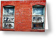 Old Windows Bricks Greeting Card