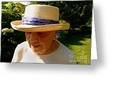 Old Woman Wearing Straw Hat Greeting Card
