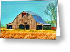 Old Wood Barn  Digital Paint Greeting Card