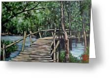 Old Wood Bridge Greeting Card