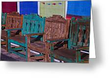 Old Wooden Benches Greeting Card by Garry Gay