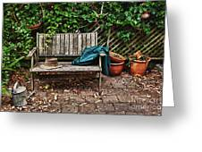 Old Wooden Garden Bench  Greeting Card