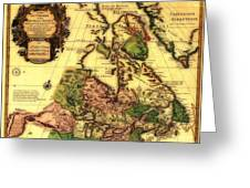 Old World Map Of Canada Greeting Card