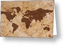 Old World Map On Creased And Stained Parchment Paper Greeting Card