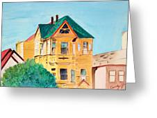 Old Yellow House In Downtown Oakland Greeting Card