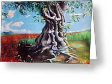 Olive Tree In A Sea Of Poppies Greeting Card
