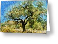 Olive Tree On Van Gogh Manner Greeting Card