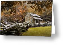 Oliver's Log Cabin During Fall In The Great Smoky Mountains Greeting Card
