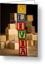 Olivia - Alphabet Blocks Greeting Card