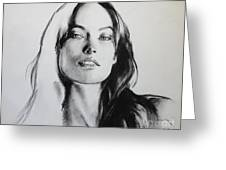 Olivia Wilde Greeting Card by Miguel Lopez