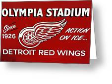 Olympia Stadium - Detroit Red Wings Sign Greeting Card