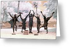 Olympic Wannabes Sculpture By Glenna Goodacre Near Infrared Greeting Card