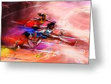 Olympics Heptathlon Hurdles 01 Greeting Card