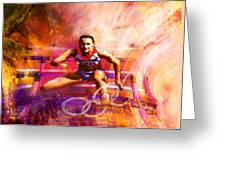 Olympics Heptathlon Hurdles 02 Greeting Card